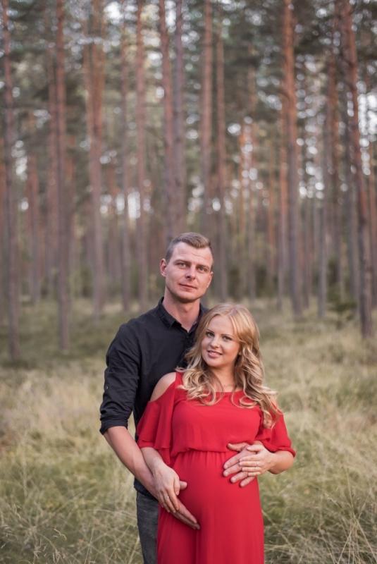 Vasaras Grūtniecības Grūtniece Punča Fotosesija Tērpu Noma Kleita Mežā Pāru