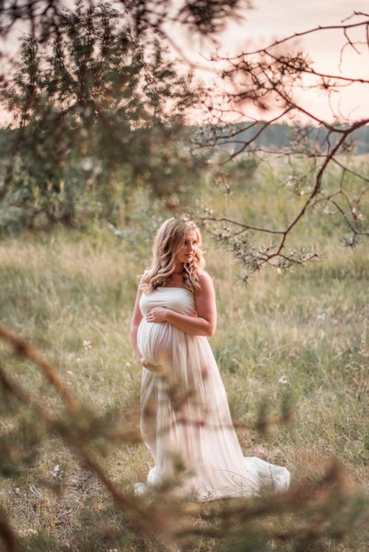 Vasaras Grūtniecības Grūtniece Punča Fotosesija Tērpu Noma Kleita Pļavā Mežā