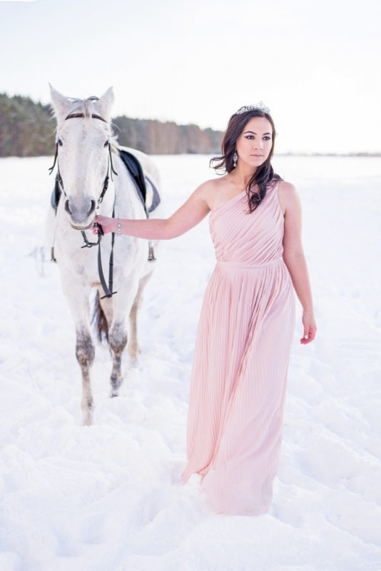 Ziema Sniegs Interesanta Ideja Fotosesijai Dāvanai Draudzenei Zirgiem